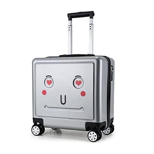 SHJKL Maleta para Niños De 16 Pulgadas, Suitcase Lindas De Dibujos Animados para Niños Y Niñas, Equipaje Liviano De Cáscara Dura con 4 Ruedas, Adecuado para Viajes Y Excursiones,Plata