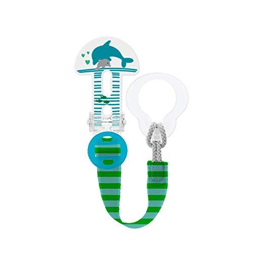 MAM Broche Clip It! S180 - Broche de Chupete con longitud ajustable, Pinza sujeta Chupete para todo tipo de chupetes, Chupetero con cierre fácil y seguro, 0+ meses, Verde