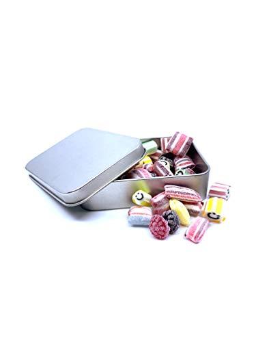 Bömskes - handgemachte Fruchtbonbon-Mischung in hochwertiger + wiederverwendbarer Metall-dose - kleines Bonbon Mitbringsel / Geschenk oder Weihnachtsgruß / Frucht Bonbons Dose bunt