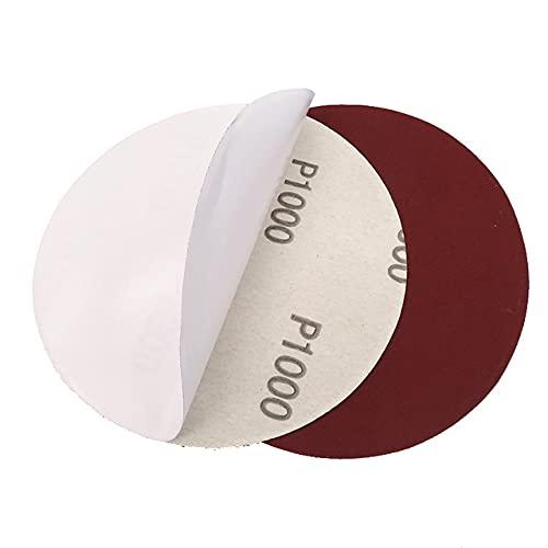 10 discos de lija de color rojo – 5 pulgadas 125 mm gancho lazo PSA/adhesivo 60-2000 granos para pulir y moler – 400, adhesivo PSA