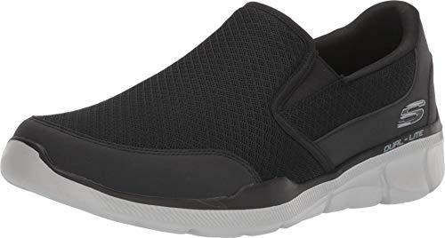 Skechers Equalizer 3.0, Zapatillas Deportiva con Detalles de Costuras sin Cordones Hombre, Negro (BKGY Black Mesh/PU/Trim), 42 EU