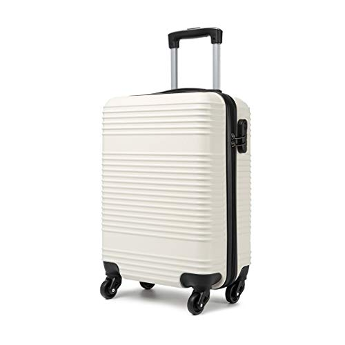 Kono Carry On Suitcase Hand Cabin Luggage Lightweight with Durable 4 Spinner Wheels, 20'' White