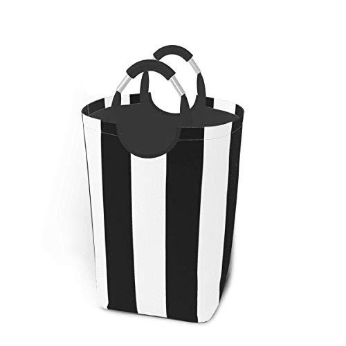 XCNGG Cesto de lavandería Contenedor de Almacenamiento Moderno Patrón de Rayas Blancas y Negras Gran Cesta de Almacenamiento Plegable para Ropa Sucia Juguetes Libros
