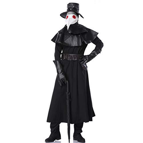 Disfraz de pestillo, incluye sombrero, máscara, guantes, cinturón y cuello y sombrero, Halloween, scary, máscara medieval, gótica, para fiestas de disfraces o carnaval.