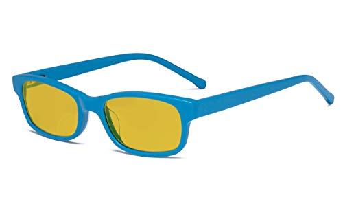 Eyekepper Kinder-Blaulicht-Schutzbrille mit Bernsteinfarbener Filtergläser,Anti-Computer-Bildschirm Blendung. Gaming-Brille für Jungen und Mädchen - UV-Strahlung schutz - Blau