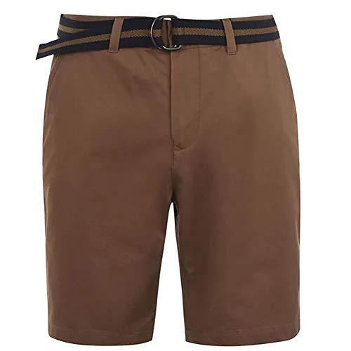 Pierre Cardin Hombre Pantalones Cortos Chinos Clásicos 100% Algodón conCintura Trenzada - Multicolor - Mediana - XX tamaños Grandes Disponibles (Large, Tobacco)