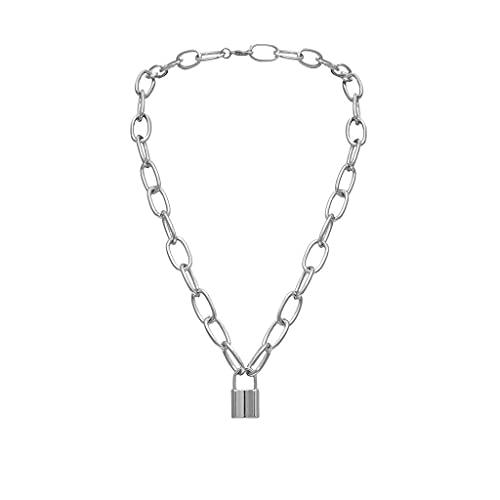 AMOZ Collares Amp, Colgantes, Vintage Metalizado Dorado Cadena Collar con Candado Joyas para Mujer...