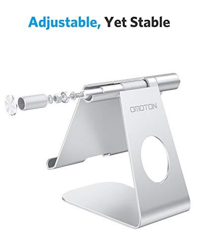 OMOTON Tablet Ständer, Tablet Stand, Verstellbare Tablet Halterung für Online-Kurse/Arbeit, Aluminium Tablet Halter mit iPad Air 4 / Mini, iPad 10.2/9.7 und Anderen Tab bis zu 12.9 Zoll, Silber