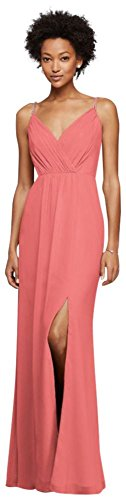 Long Bridesmaid Dress with Beaded Straps Style F19281, Coral Reef, 26