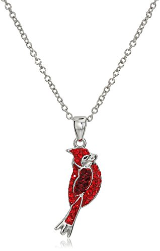 Silver-Plated Crystal Cardinal Pendant Necklace, 18'