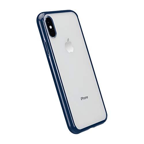 Amazon Basics - Cover per iPhone XS, in TPU + PC (blu), modello trasparente, protettivo e antigraffio