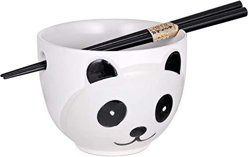 Happy Sales HSRB-PDADWHT, Ramen Udon Noodle Soup Cereal Bowl With Chopsticks, White Panda Design
