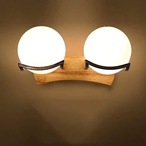 Creative Nordic Modern Chinees Living Room Aisle slaapkamer lamp van het bed Hout Japanse wandlamp (Kleur: Single Head), Kleur: Single Head (Color : Double head)