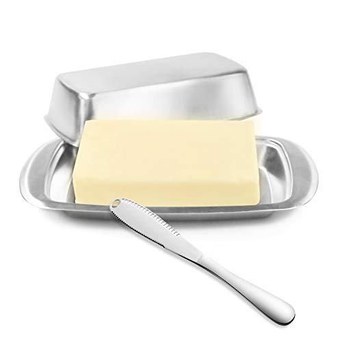 DRWhem Butterdose Edelstahl mit Deckel und Buttermesser Vintage Butter Keeper Box Behälter verschließen Lebensmittel Käse Aufbewahrungstablett für Küche, Zuhause