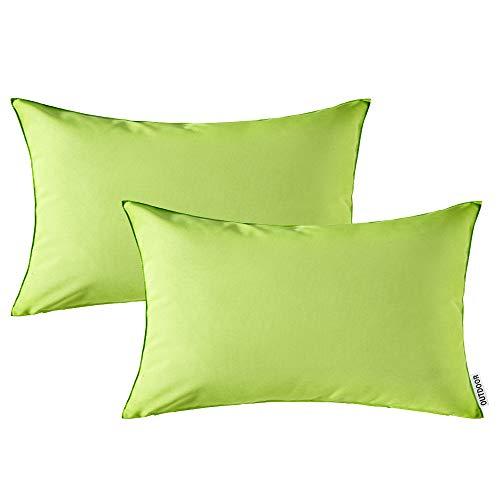 MIULEE Packung von 2 wasserdichte Sofa Kissenbezug Kissenhülle im freien Set Kissen Fall für Sofa Schlafzimmer 12x20 inch 30x50cm Grün