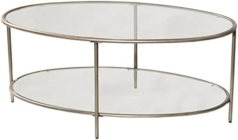 Best Hillsdale Furniture Corbin Two Glass Shelves, Silver Coffee Table