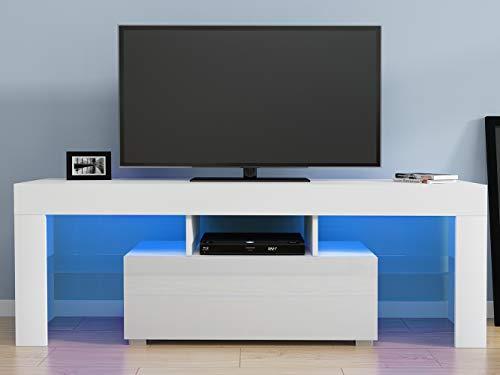 Anaelle Pandamoto LED Meuble TV en Verre sur Salle de Séjour, Salon et Chambre à Coucher etc, Taile: 130*35*45cm, Poids: 28kg, Blanc