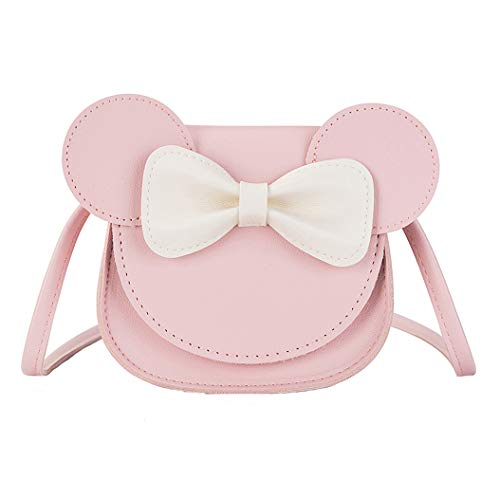 xperry Little Girls Toddlers Mini Crossbody Shoulder Bag Coin Purse with Cute Mouse Ear Bowknot, Pink, One Size