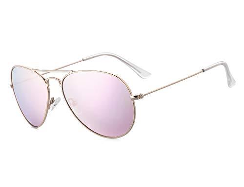 Rocf Rossini Gafas de Sol Aviador para Mujer Gafas Polarizadas Retro de Hombre con Protección UV400 para Pescar Conducir Playa(gold/pink)
