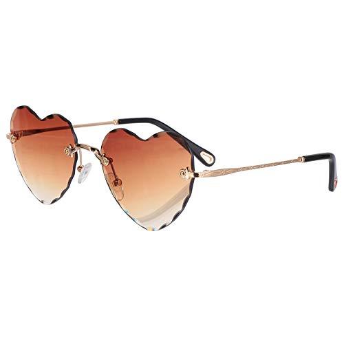 STOBOK Herzförmige Sonnenbrillen Lieben Herzwellenförmige Brillen Matal Rahmenlose Brillen für Foto Requisiten Geburtstagsfeier Bevorzugt Braun