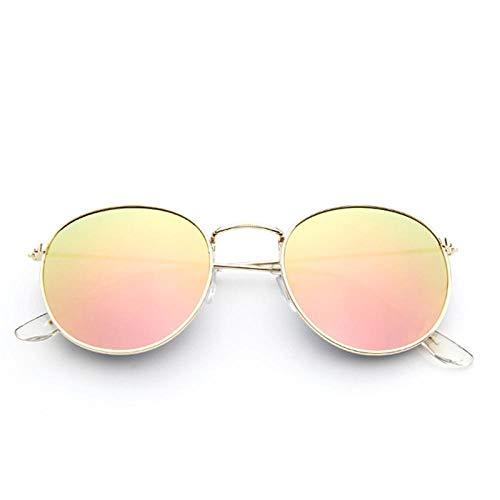 Gafas De Sol Polarizadas Gold Metal Frame Sunglasses Women Mirror Round Sun Glasses Coating Reflective Retro Sun Glasses Trend Eyewear Goldmirrorpink