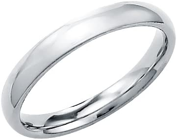 14k Solid White Gold Plain Comfort Wedding Band Ring 3MM - Size 11