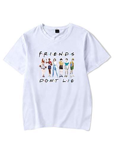 Camiseta Stranger Things Mujer, Unisex Camiseta Stranger Things Hombre Manga Corta Impresión Abecedario T-Shirt Niña Regalo Camisa Verano Niño Camisetas y Tops (B,XS)