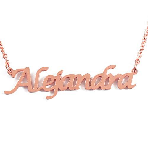 Kigu Alejandra Collar con Nombre - Chapado en Oro Rosa de 18 Quilates Personalizado - Cadena Ajustable