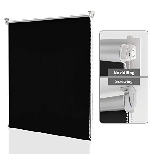 HOMEDEMO Store Enrouleur Occultant Isolant Thermique Opaque Noir 60 x 120 cm Rideau occultant Fixation avec ou sans perçage