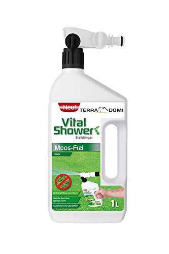 Terra Domi Vital Shower Moos Frei, 1 L, Rasendünger für bis zu 300 m², Flüssigdünger für sattes & gleichmäßiges Grün, Verdrängt Moos, Blattdünger …