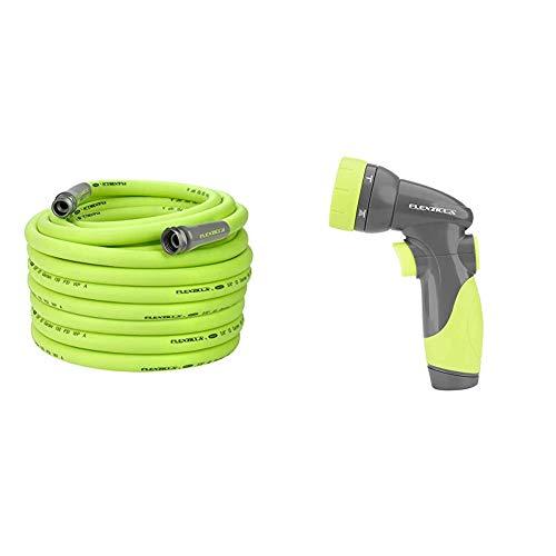 Flexzilla Garden Hose, 5/8 in. x 100 ft, Heavy Duty, Lightweight, Drinking Water Safe - HFZG5100YW & NFZG64 6-Pattern Nozzle, Green