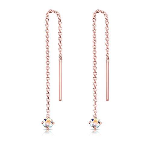DTP Silver Pendientes Pequeños con Cadena y colgante con 3 mm Cristal Swarovski Elements - Plata de Ley 925 Plateado en Oro Rosa - Longitud 57 mm - Color: Aurora Boreale