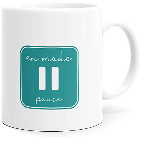 Mug Humour En Mode Pause Tasse Message drôle. Idée Cadeau Original pour Amis Couple Amoureux Collègue Frère Sœur pour Anniversaire Noël ou Juste pour le Plaisir. Dino Mugs le Sourire dès le Réveil.