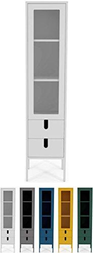 tenzo 8566-001 UNO Designer Vitrine 1 Porte, 2 tiroirs, Blanc, MDF Particules ép. 19 et 16 mm Panneau arrière laqué. Poignées en matière Plastique, 178 x 40 x 40 cm (HxLxP)