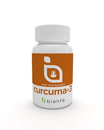 Cúrcuma+3 de Bianfà. Antibiótico Natural. Cúrcuma + Ajo Negro + Jengible + Pimienta Negra. 90 cápsulas de 500 mg