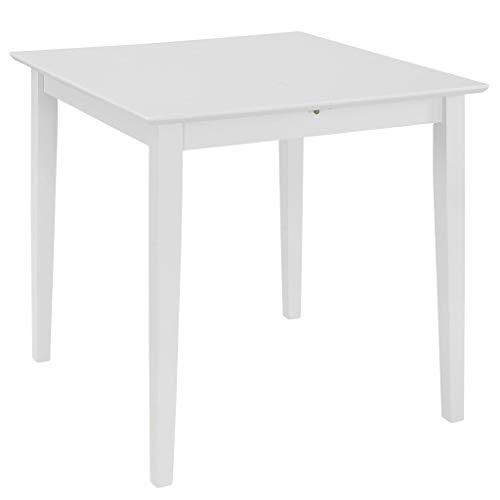 Nishore Mesa de Comedor Extensible Blanco Mesa Comedor Mesa Cocina Diseno Practico Blanco (80-120) x 80 x 74 cm MDF