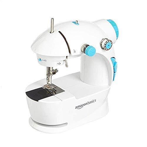AmazonBasics - Máquina de coser, tamaño mini, 2 velocidades, mesa extensible