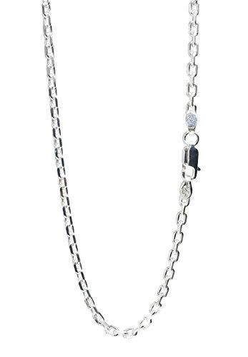 新宿銀の蔵 あずきチェーン 4面カット 長さ40~80cm (50cm) 幅2.6mm シルバー 925 ネックレス チェーン ネックレスチェーン メンズ