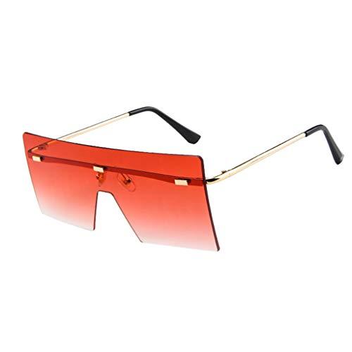 Lazzboy Große Quadratische Randlose Sonnenbrille Vintage Metal Oversized Shades Eyewear übergroße Damen Big Frame Windproof Flat Top Schutzbrille(Rot)
