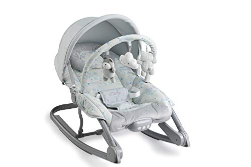MOMI EBES Babywippe für Babys, weiche Polsterung, Metallrahmen, Antirutsch-Füßchen, Haltegurt | Gewicht 3,84 kg, Abmessungen 80 x 54 x 40 cm | Sensorisches Modul für kreative Kinderförderung | Stars