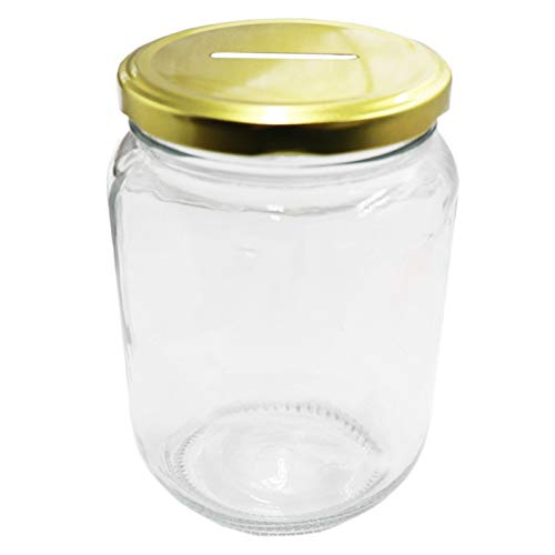 Mczxon Clear Glass Piggy Bank with Gold Slotted Lid, Well Sized Coin Bank, Two Placement Methods Money Tip Coin Jar for Adults Teens Kids Girls Boys, M