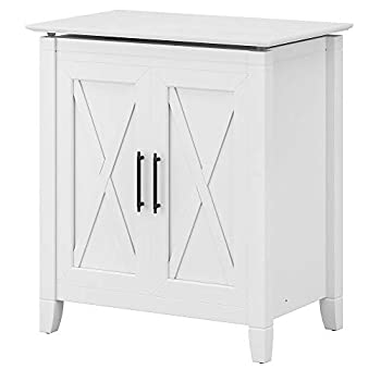 Bush Furniture Key West Bathroom Laundry Hamper with Lid and Removeable Liner Bag White Ash