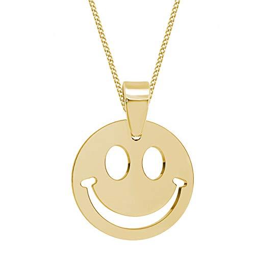 Smiley Anhänger mit Kette 925 Echt Silber Mädchen Damen Kinder Halskette (2) Gold, 50)