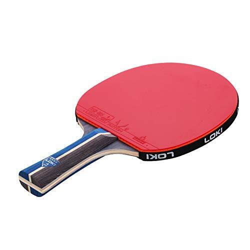 JRPT Raquetas de Tenis de Mesa 5 capas de madera maciza,Juego de Paleta de Ping-Pong versión intermedia, mango antideslizante y absorbente de sudor / 4 estrellas / 2×Long handle