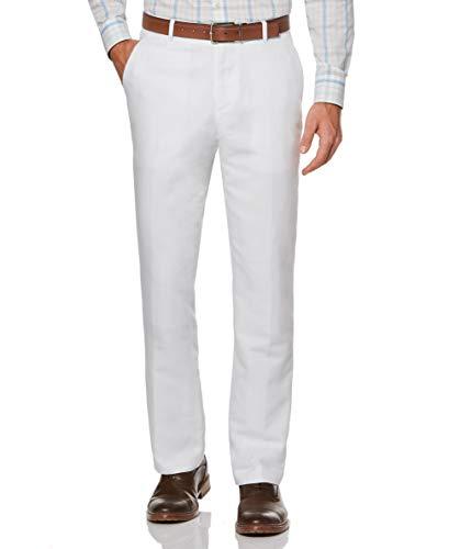 Perry Ellis Men's Standard Linen Suit Pant, Bright White, 34W X 32L