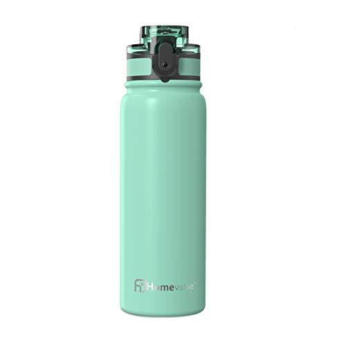 Homevalue Edelstahl Trinkflasche 500ml,Thermosflasche, BPA Frei Auslaufsichere Isolierflasche doppelwandig, Thermoskanne kohlensäure geeignet für Kinder,Kleiner,Schule,Sport,Fahrrad (Grün)