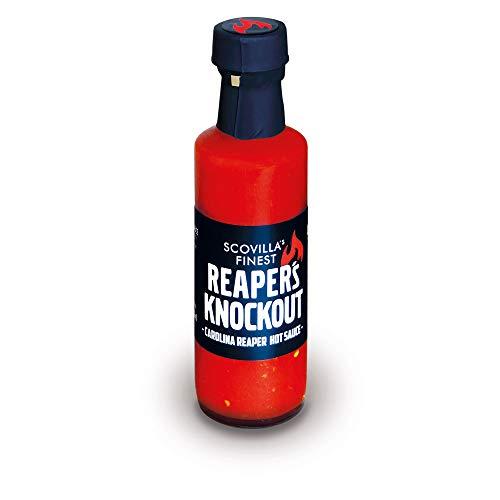 Scovilla 's Finest Reaper's Knockout 100 ml | Salsa de chile extremadamente afilada con Carolina Reaper | Salsa extremadamente caliente | Ingredientes 100% naturales
