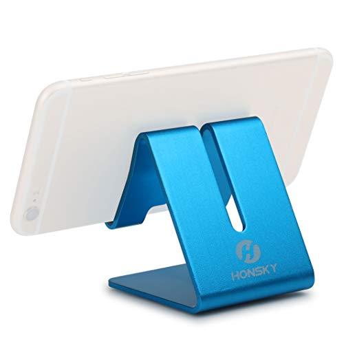 Honsky Solid Portable Universal Aluminum Desktop Desk Stand Hands-free Mobile Smart Cell Phone Holder Tablet Display Stand, Cellphone Stand, Smartphone Mount Cradle, Blue