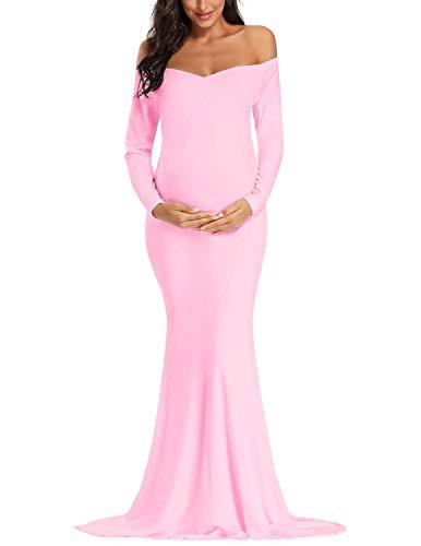 JENJON Mujer Premamá Vestido Elegant Maternidad Foto Shoot Maxi Ropa Vestido de Fiesta Ceremonia Manga Larga Dress Rosa M