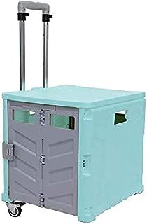 35kg Folding Shopping Trolley Storage Boot Cart Box (Light Blue)
